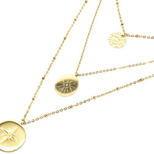Collier-Triple-Fine-Chaine-avec-Medailles-Martelee-et-Motifs-Etoile-Polaire-Acier-Dore