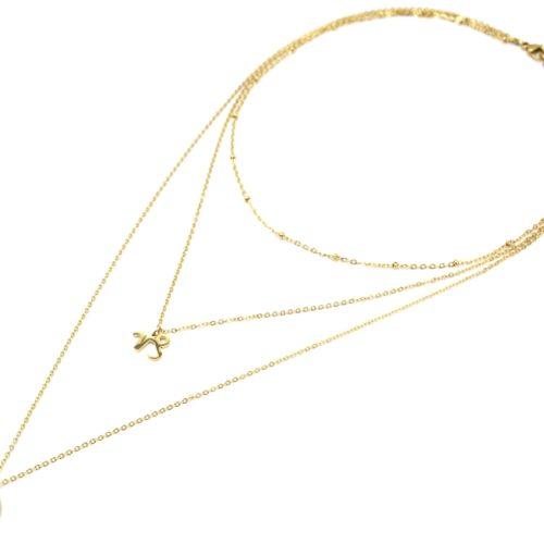 Collier-Triple-Chaine-Signe-Astro-et-Medaille-Martelee-Capricorne-Acier-Dore