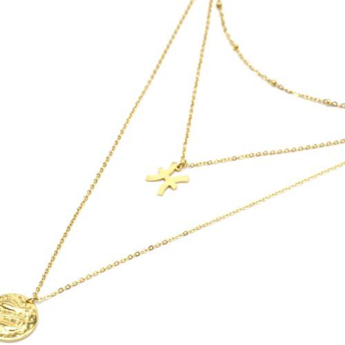 Collier-Triple-Chaine-Signe-Astro-et-Medaille-Martelee-Poissons-Acier-Dore