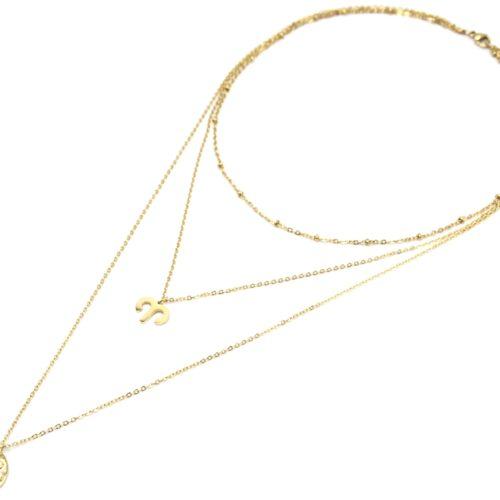 Collier-Triple-Chaine-Signe-Astro-et-Medaille-Martelee-Belier-Acier-Dore