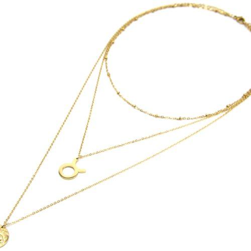 Collier-Triple-Chaine-Signe-Astro-et-Medaille-Martelee-Taureau-Acier-Dore