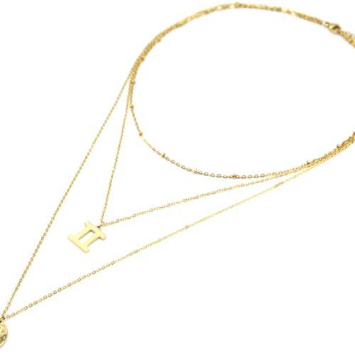 Collier-Triple-Chaine-Signe-Astro-et-Medaille-Martelee-Gemeaux-Acier-Dore
