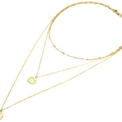 Collier-Triple-Chaine-Signe-Astro-et-Medaille-Martelee-Cancer-Acier-Dore
