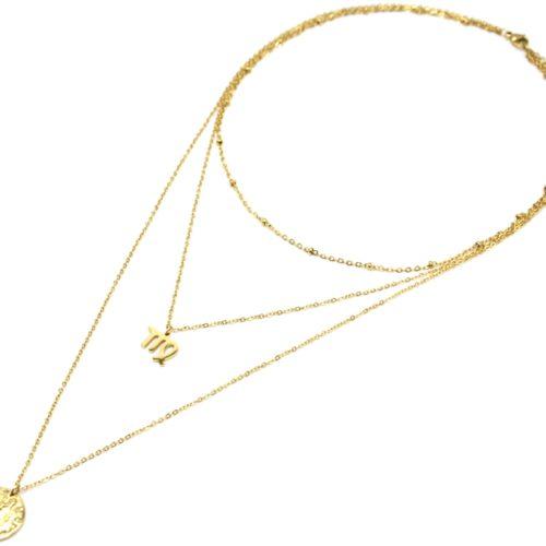 Collier-Triple-Chaine-Signe-Astro-et-Medaille-Martelee-Vierge-Acier-Dore