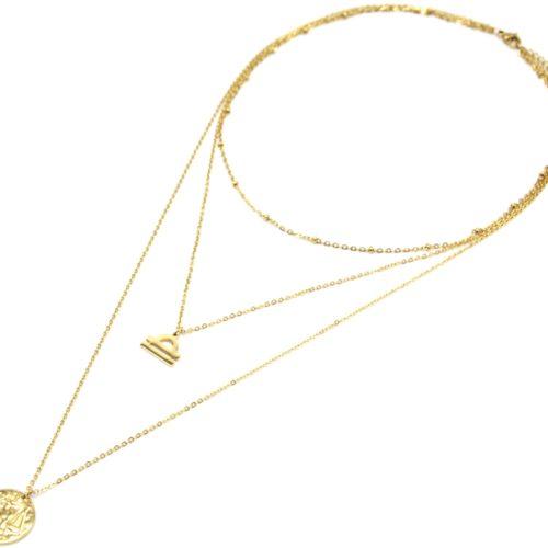 Collier-Triple-Chaine-Signe-Astro-et-Medaille-Martelee-Balance-Acier-Dore