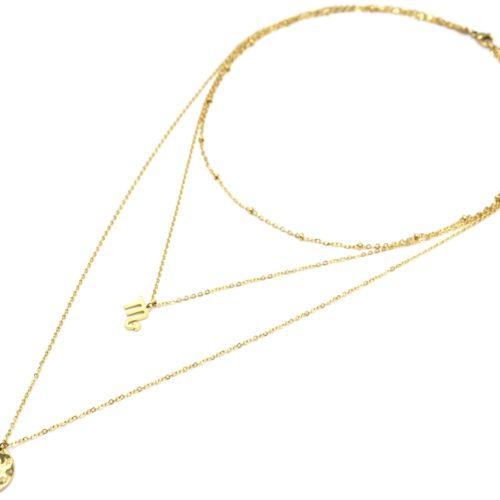 Collier-Triple-Chaine-Signe-Astro-et-Medaille-Martelee-Scorpion-Acier-Dore