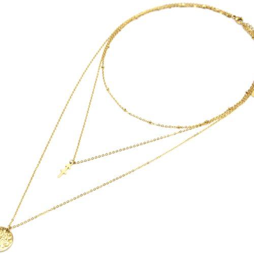 Collier-Triple-Chaine-Signe-Astro-et-Medaille-Martelee-Sagittaire-Acier-Dore