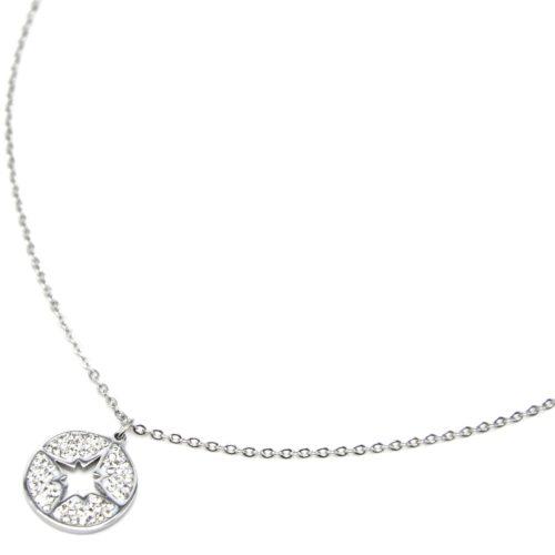 Collier-Fine-Chaine-Acier-Argente-avec-Cercle-Strass-Blanc-Motif-Ajoure-Etoile-Polaire