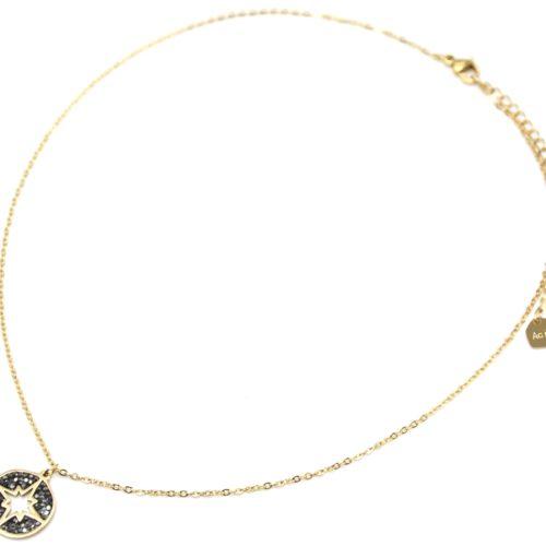 Collier-Fine-Chaine-Acier-Dore-avec-Cercle-Strass-Gris-Motif-Ajoure-Etoile-Polaire