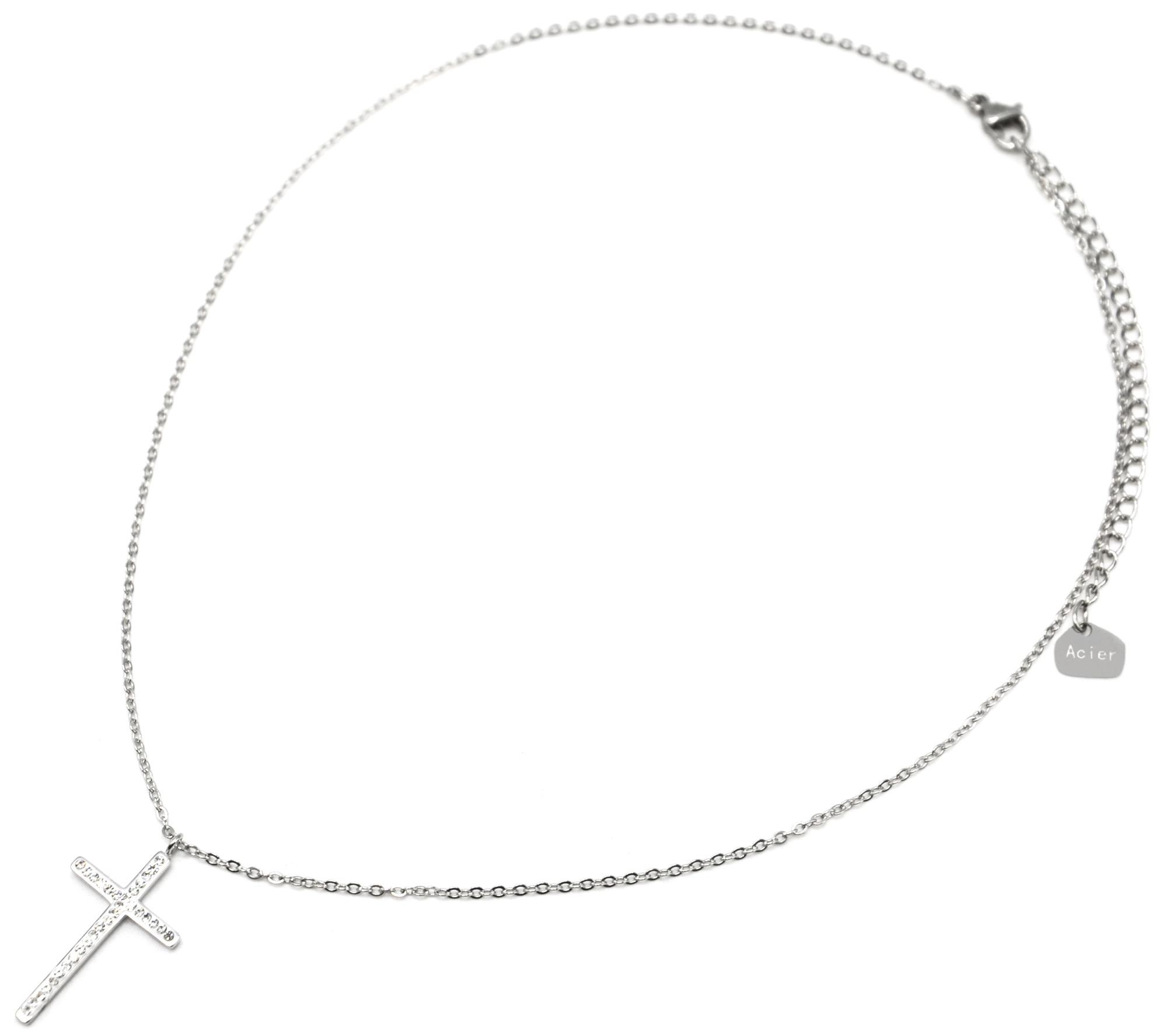 CC2127F Collier Fine Chaîne Mini Perles Email Blanc et Croix Acier Argenté