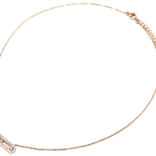 Collier-Fine-Chaine-Pendentif-Rectangle-Arrondi-Strass-Pierres-et-Acier-Or-Rose