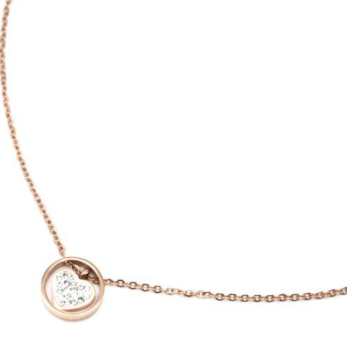 Collier-Fine-Chaine-avec-Pendentif-Anneau-Acier-Or-Rose-et-Coeur-Strass-Blanc