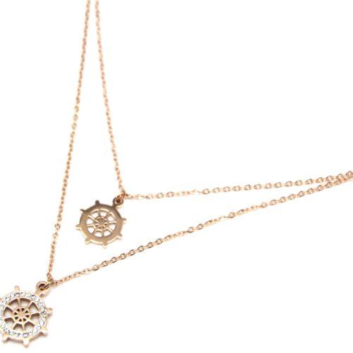 Collier-Double-Chaine-avec-Pendentifs-Gouvernail-Strass-et-Acier-Or-Rose