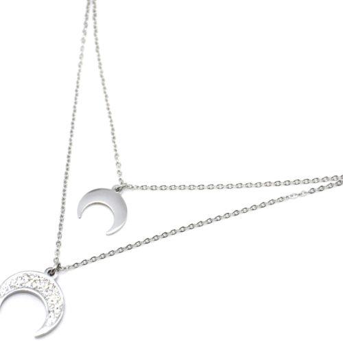 Collier-Double-Chaine-avec-Pendentifs-Corne-Lune-Strass-et-Acier-Argente