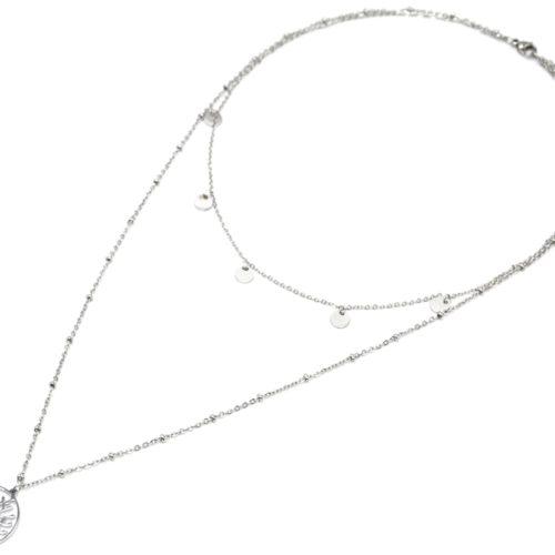 Collier-Double-Chaine-avec-Pampilles-et-Arbre-de-Vie-Ajoure-Acier-Argente