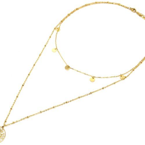 Collier-Double-Chaine-avec-Pampilles-et-Arbre-de-Vie-Ajoure-Acier-Dore