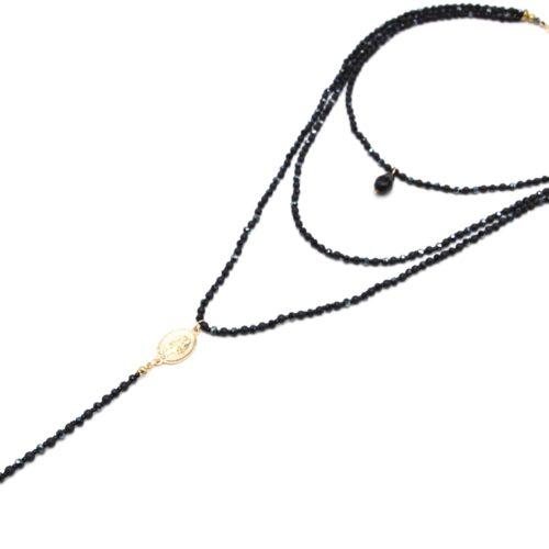 Sautoir-Collier-Multi-Rangs-Perles-Brillantes-Noir-Chapelet-Vierge-Marie-et-Croix-Metal-Dore
