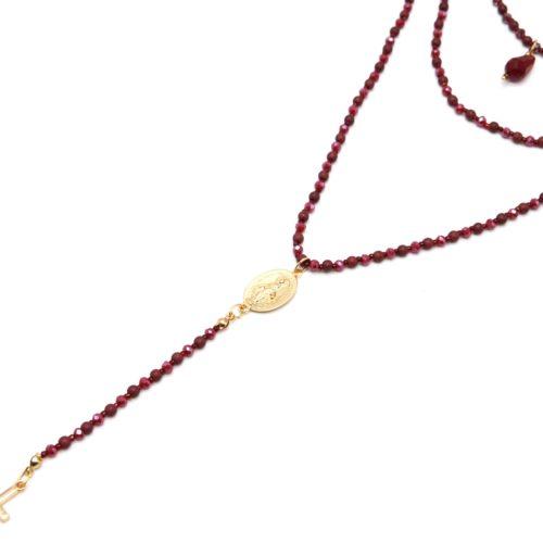 Sautoir-Collier-Multi-Rangs-Perles-Brillantes-Bordeaux-Chapelet-Vierge-Marie-et-Croix-Metal-Dore