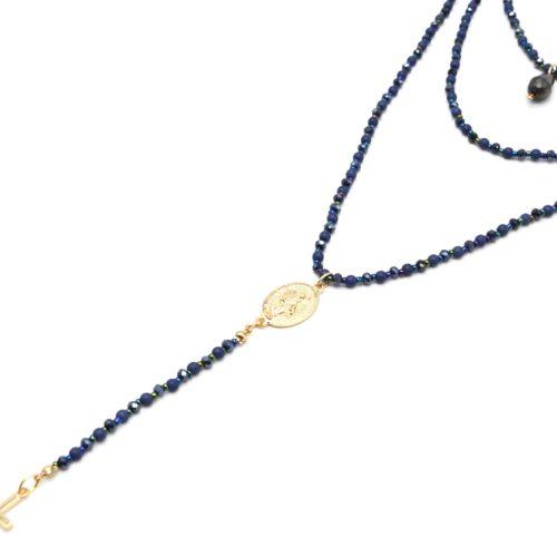 Sautoir-Collier-Multi-Rangs-Perles-Brillantes-Bleu-Chapelet-Vierge-Marie-et-Croix-Metal-Dore
