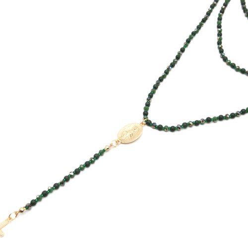 Sautoir-Collier-Multi-Rangs-Perles-Brillantes-Vert-Chapelet-Vierge-Marie-et-Croix-Metal-Dore