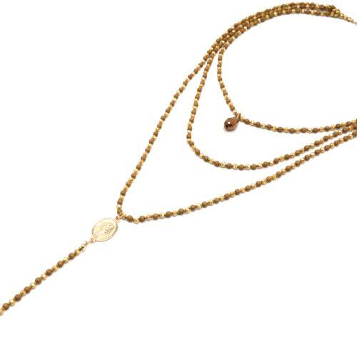 Sautoir-Collier-Multi-Rangs-Perles-Brillantes-Moutarde-Chapelet-Vierge-Marie-et-Croix-Metal-Dore