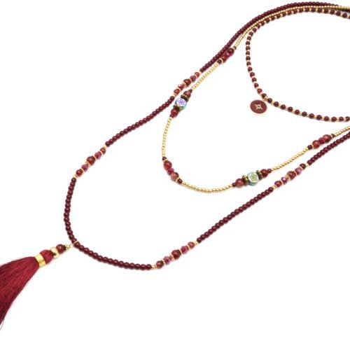Sautoir-Collier-Multi-Rangs-Perles-Verre-avec-Cercle-Etoile-Polaire-et-Pompon-Bordeaux