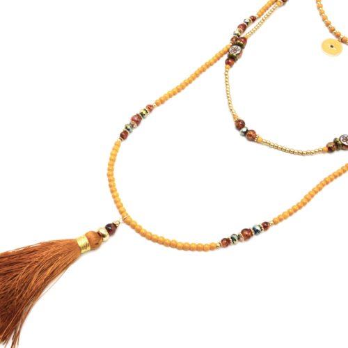 Sautoir-Collier-Multi-Rangs-Perles-Verre-avec-Cercle-Etoile-Polaire-et-Pompon-Camel
