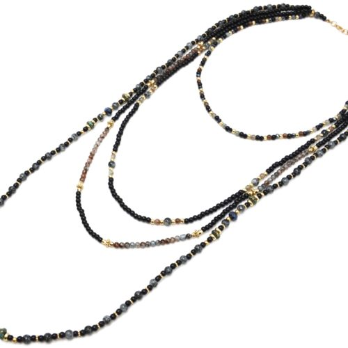 Sautoir-Collier-Multi-Rangs-Perles-Verre-Effet-Marbre-et-Opaque-Noir