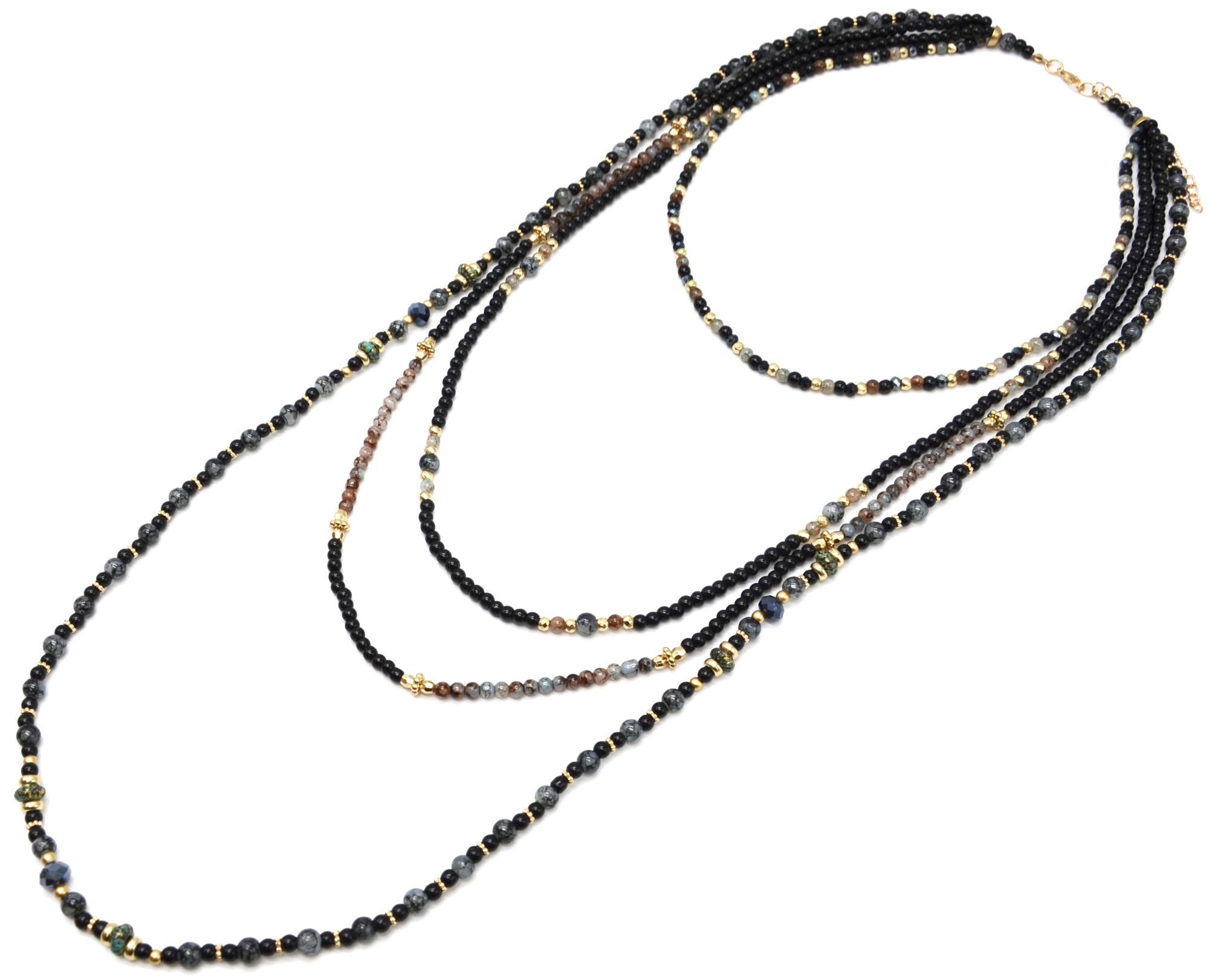 Sautoir Collier Multi-Rangs Perles Verre Effet Marbre et Opaque Noir CL2243F