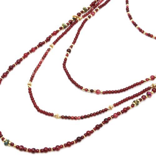 Sautoir-Collier-Multi-Rangs-Perles-Verre-Effet-Marbre-et-Opaque-Bordeaux