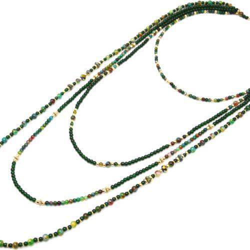 Sautoir-Collier-Multi-Rangs-Perles-Verre-Effet-Marbre-et-Opaque-Vert-Sapin