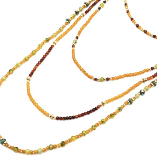 Sautoir-Collier-Multi-Rangs-Perles-Verre-Effet-Marbre-et-Opaque-Jaune-Moutarde