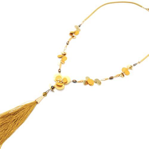 Sautoir-Collier-Cordon-avec-Perles-Fleur-Pieces-Metal-Moutarde-Dore-et-Pompon