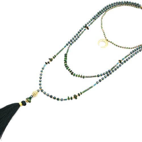 Sautoir-Collier-Multi-Rangs-Perles-Verre-avec-Corne-Lune-et-Pompon-Vert-Sapin