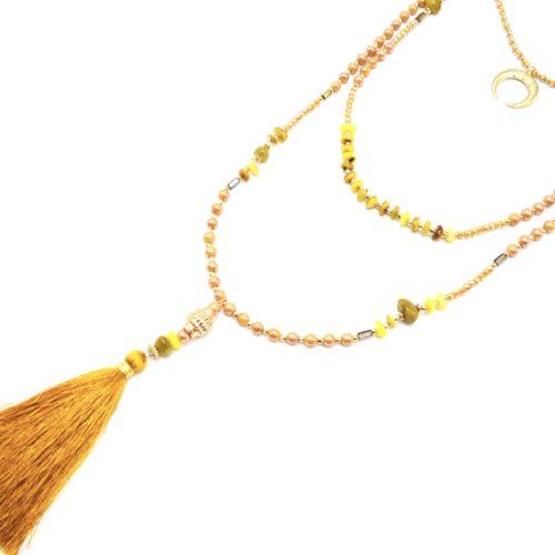Sautoir-Collier-Multi-Rangs-Perles-Verre-avec-Corne-Lune-et-Pompon-Jaune-Moutarde