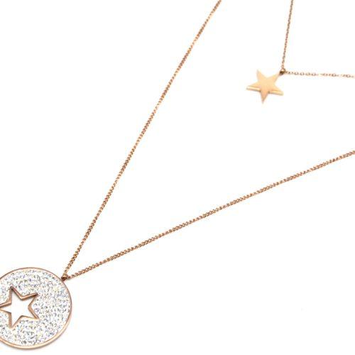 Sautoir-Collier-Double-Chaine-Pendentifs-Etoile-Acier-Or-Rose-et-Cercle-Strass-Blanc