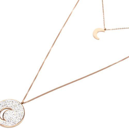 Sautoir-Collier-Double-Chaine-Pendentifs-Lune-Acier-Or-Rose-et-Cercle-Strass-Blanc