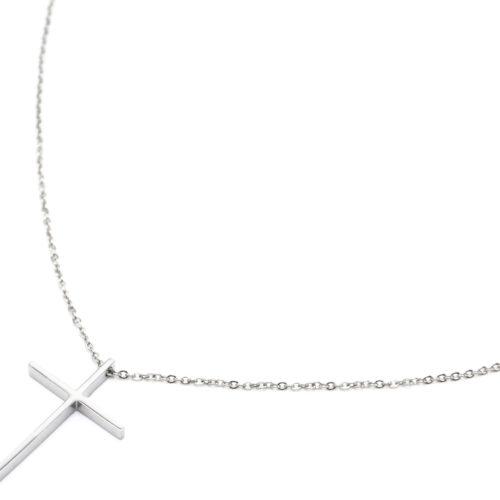 Sautoir-Collier-Fine-Chaine-avec-Pendentif-Croix-Acier-Argente