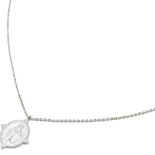 Sautoir-Collier-Fine-Chaine-avec-Medaille-Vierge-Marie-Contour-Points-Acier-Argente