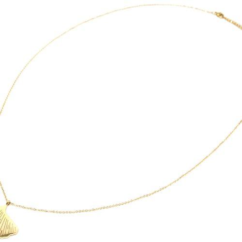Sautoir-Collier-Fine-Chaine-avec-Pendentif-Feuille-de-Ginkgo-Acier-Dore