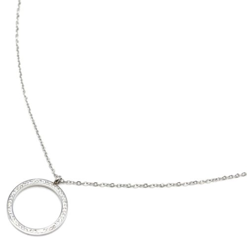 Sautoir-Collier-Fine-Chaine-Acier-Argente-avec-Pendentif-Cercle-Contour-Strass-Blanc