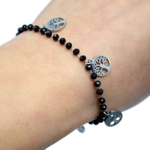 Bracelet-Perles-Noires-avec-Multi-Charms-Arbres-de-Vie-Acier-Argente