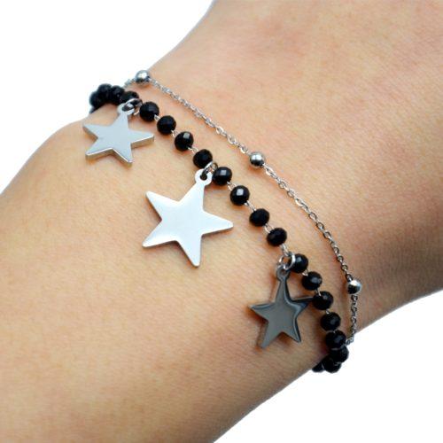 Bracelet-Perles-Noires-et-Boules-avec-Charms-Etoiles-Acier-Argente