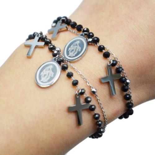 Bracelet-Perles-et-Boules-avec-Charms-Croix-Vierge-Marie-Acier-Argente