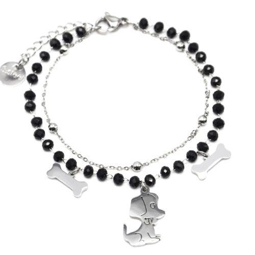 Bracelet-Perles-Noires-et-Boules-avec-Charms-Os-Chien-Acier-Argente