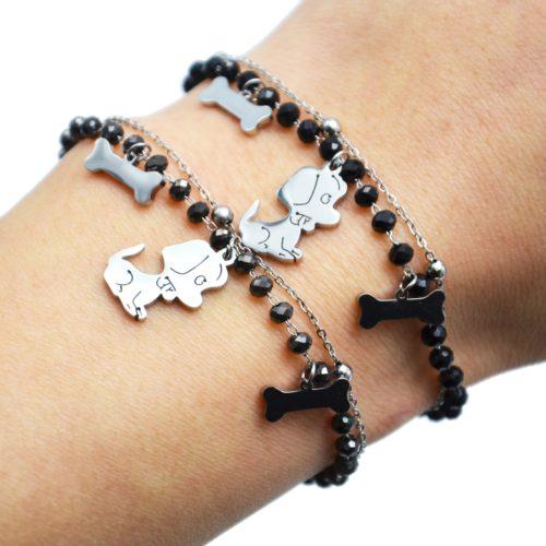 Bracelet-Perles-et-Boules-avec-Charms-Os-Chien-Acier-Argente