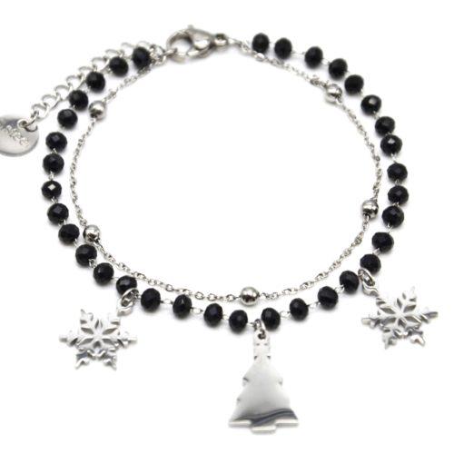 Bracelet-Perles-Noires-et-Boules-avec-Charms-Flocons-Sapin-Acier-Argente