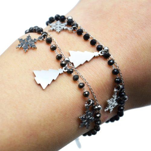 Bracelet-Perles-et-Boules-avec-Charms-Flocons-Sapin-Acier-Argente