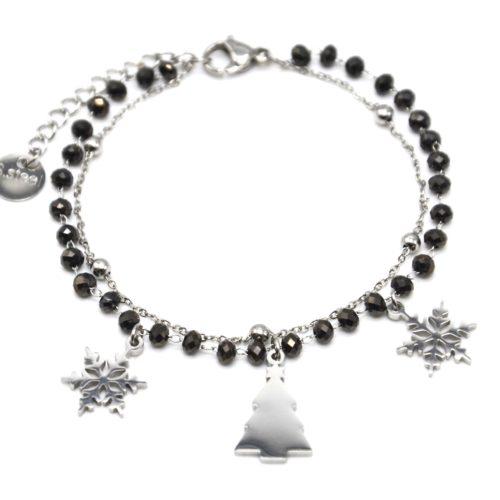 Bracelet-Perles-Grises-et-Boules-avec-Charms-Flocons-Sapin-Acier-Argente