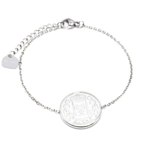 Bracelet-Fine-Chaine-avec-Piece-Monnaie-Napoleon-Acier-Argente